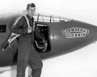 """Chuck Yeager in Front of the Bell X-1 """"Glamorous Glennis"""" Experimental Aircraft - 5X7,  8X10 or 11X14 Photo (EP-661)"""