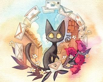 Jiji from Kiki's Delivery Service 11x11 Studio Ghibli Waterocolor Poster Print