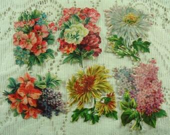 Vintage Flower Die Cut Scraps, Victorian Scrapbooking Collage Supplies, Altered Art