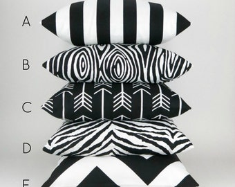 Black & White Pillow Cover -MANY SIZES- Bold modern patterns mix and match, Decorative Throw Pillow Cushion, Premier Prints FREESHIP