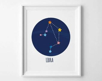 libra wall print, Libra constellation,SALE libra zodiac print, constellation zodiac, libra print, libra art,astronomy print,october birthday