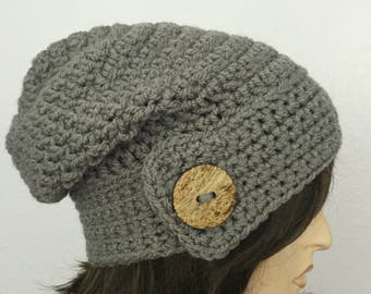 Womens Crochet Hat Women Chunky Slouchy Beanie with Button Womens Accessories Fall Fashion Winter Hat