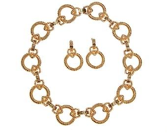 Vintage Piscitelli Large Gold Cable Link Necklace and Earring Set, 1980s, Designer