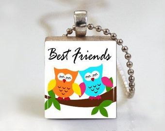 Owl Best Friends Pendant - Scrabble Tile Pendant - Free Ball Chain Necklace or Key Ring