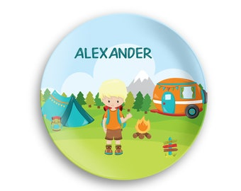 Personalized Plate  – Camping Boy Girl Fire Camper Tent Backpack, 10 inch ThermoSaf® Polymer Plate, Kids Personalized 8.5 inch Bowl