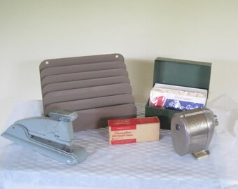 Vintage Metal Office Supplies, Swingline Stapler Box of Staples, Bostitich Pencil Sharpener, Letter Sorter, File Box with Cards Collection