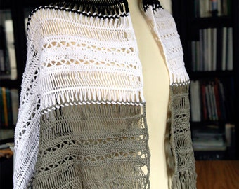 Crocheted Shawl, Fringed Stole 100% Cotton