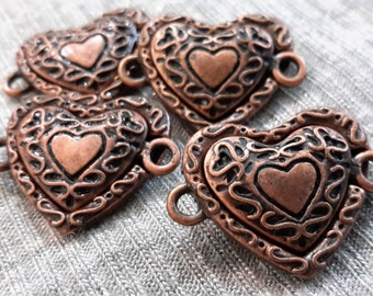 Lot of 2 Packs of 2 (4 clasps total) Magnetic clasp Heart shape Antic Copper (Perle Nouveau) By Cousin Corporation.