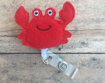 Crab Badge Reel - Crab Badge Clip - Crab - Summer Badge Clip - Id holder - Retractable Badge Holder - Name Badge Holder - Nurse Badge Reel