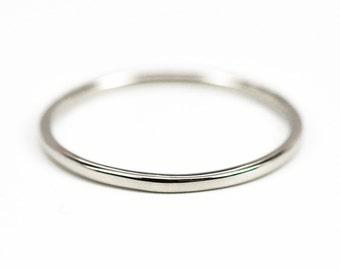 Skinny White Gold Ring, 1mm 14K Palladium White Gold Wedding Band, Eco Friendly, Sea Babe Jewelry