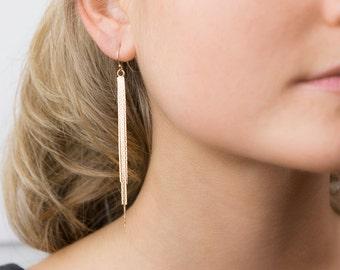 Tassel Earrings, Simple Dangling Chain Tassel Earrings / 14k Gold Fill or Sterling Silver Ear Wires / by Layered and Long LE408