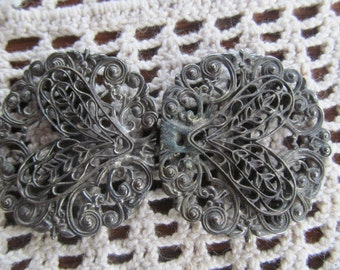 1800s Victorian Antique Shoe Buckles Silver Filigree Victorian Belt Buckle Brooch Sweater Guards Antique Buckles Victorian Accessories