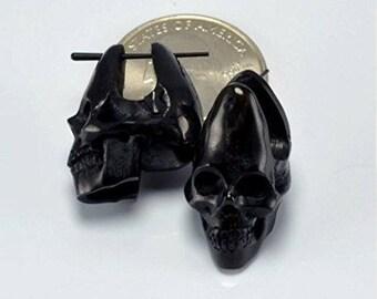 Skull Earrings - Stirrup Post Earrings - Large - Horn