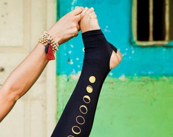 Moon Leggings - Black Women Yoga Pants, second skin tights with spats, yogic golden moon phase print. ecoluxe wear natural fibers