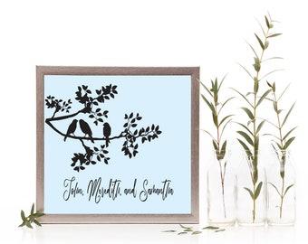 Birds on a Branch Custom Made Family Sign