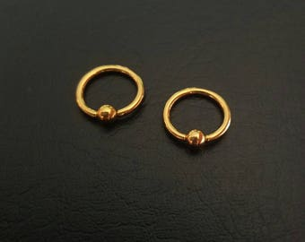 """8mm 20g 18g 16g 14g 5/16"""" Small Gold Captive Bead Ring Nostril Septum Daith Helix Tragus Cartilage Ring Titanium IP Stainless Steel"""
