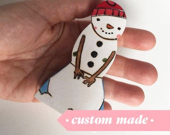 Snowman, Waldorf-inspired all-natural wooden toys
