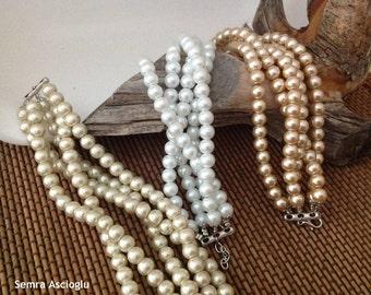 Pearl Christmas Gift,  Pearl Bracelet,Bridal Pearl Bracelet,Bridal Pearl Bracelet ,Multi strand bracelet