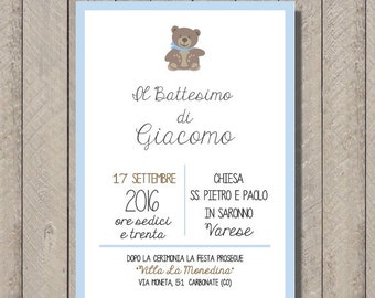 PDF, Baptism invitation card with teddy bear, printable custom birthday invititation- baby shower diy