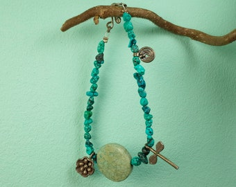 Turquoise bracelet with impression Jasper and Silver charms (925)
