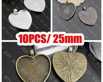 10 Pendant Trays- 25mm Heart Shaped Bezel Cup Cabochon Mountings Wholesale, Antique Copper/ Antique Bronze/ Silver Plated as your choice