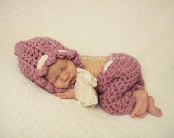 Bonnet and Pants Set Pink Scallops Newborn Photography