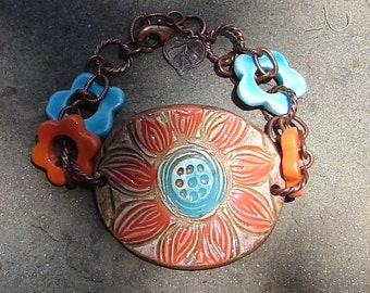 Turquoise and Orange Flower Ceramic Pottery Cuff Bracelet Handmade Copper