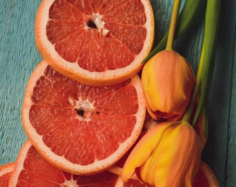 Citrus 4, orange and blue art print, spring tulip flowers, floral print, orange fruit still life, kitchen wall decor, botanical art, blooms
