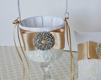 Wedding Flower Girl Basket White Champagne Gold Customize with your Wedding Colors