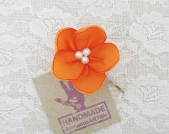 Orange Flower Hair Pin. Orange Flower Hair Piece. Bridesmaid Hair Accessory.