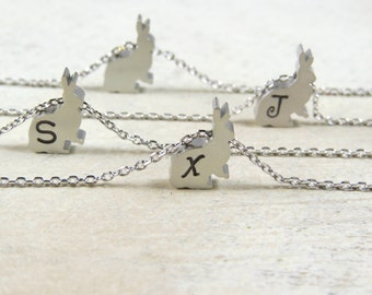 Silver rabbit necklace, bunny necklace, initial necklace, letter necklace, Easter bunny necklace, rabbit necklace, hare necklace