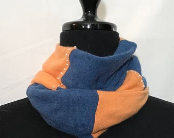 Bright Blue and Pale Orange  Infinity Cashmere Scarf made from  Upcycled Sweaters