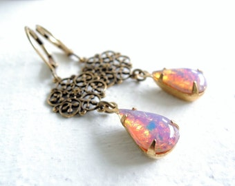 Estate Style Opal Glass Earrings Romantic Vintage Style Fire Opal Earrings Shabby Glam Style Wedding Jewelry Victorian Inspired Jewelry