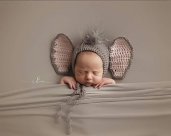 Crochet Elephant Bonnet, Newborn Photo Prop, Newborn Photography, Newborn Animal Bonnet, Safari Prop, Crochet Photo Prop, Infant Accessories