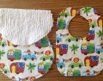 Burp Cloth and Bib Set for Baby Boy, Triple Layer Bib, Chenille Back Burp Cloth, camping