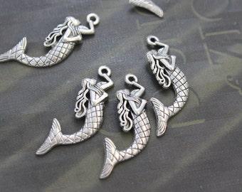 10 Mermaid Charms Antique Tibetan Silver