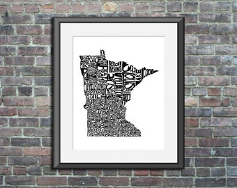 Minnesota typography map art unframed print customizable personalized custom state poster wall decor engagement wedding housewarming gift