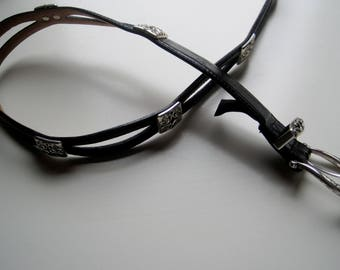 BRIGHTON BELT Vintage Brighton Black Leather Belt with Silver buckle with Silver Embelleshments