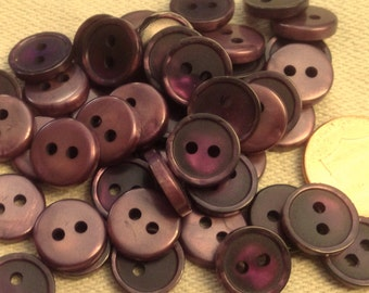 "Lot of 24 Small Pearlized Purple Plastic Sew-through Buttons Just Over 7/16"" 12mm # 7171"