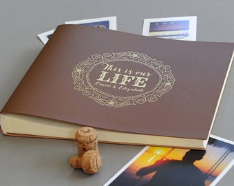 Personalised Jumbo 'This Is Our Life ... & 'Your names'  Recycled Leather Photo Album