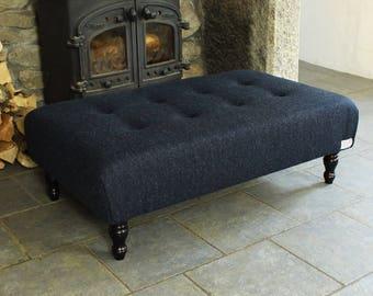 Large Harris Tweed Footstool| Navy herringbone Harris Tweed Footstool| Buttoned Footstool|Ottoman| Pouffe| Footstool| Coffee table|Navy Blue
