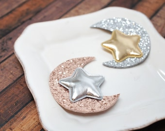 Moon and Star Glitter Snap Clip - for all ages, under 10