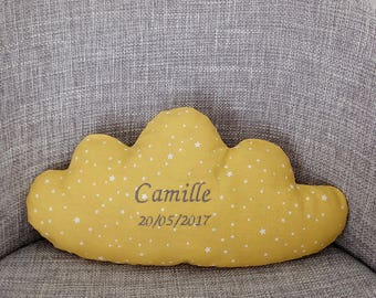 custom mustard yellow cloud pillow
