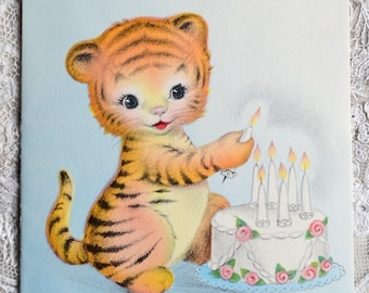 Vintage Birthday Card - Seven Year Old Tiger With Lit Candle Birthday Cake - Used