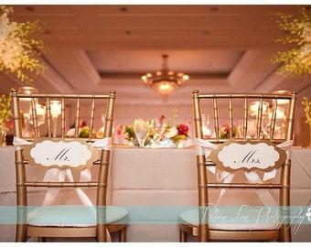 Mr. and Mrs. Wedding Chair Signs, Wedding Chair Decor, Wedding Decor, Reception Decor, Bride and Groom Chair Signs, Gold Chair Signs