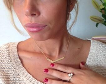 Large V Necklace - V Gold Necklace, Chevron Necklace, Geometric Necklace, Dainty Necklace, Gold Necklace, Friendship Necklace
