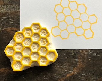 Honeycomb Rubber Stamp Hand Carved