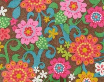 "Printed Felt Rectangle: Flowers (9""x12"")"