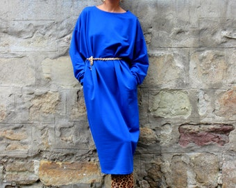 Blue dress/ midi dress/ Oversized Dress/ Maxi dress/ Fall Winter dress/ Party Dress/ plus size dress/ casual dress