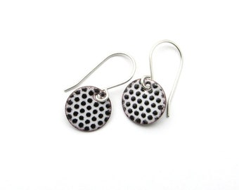 Small Black and White Earrings with Sterling Silver Earwires - Lightweight Enamel Jewelry - Gift for her